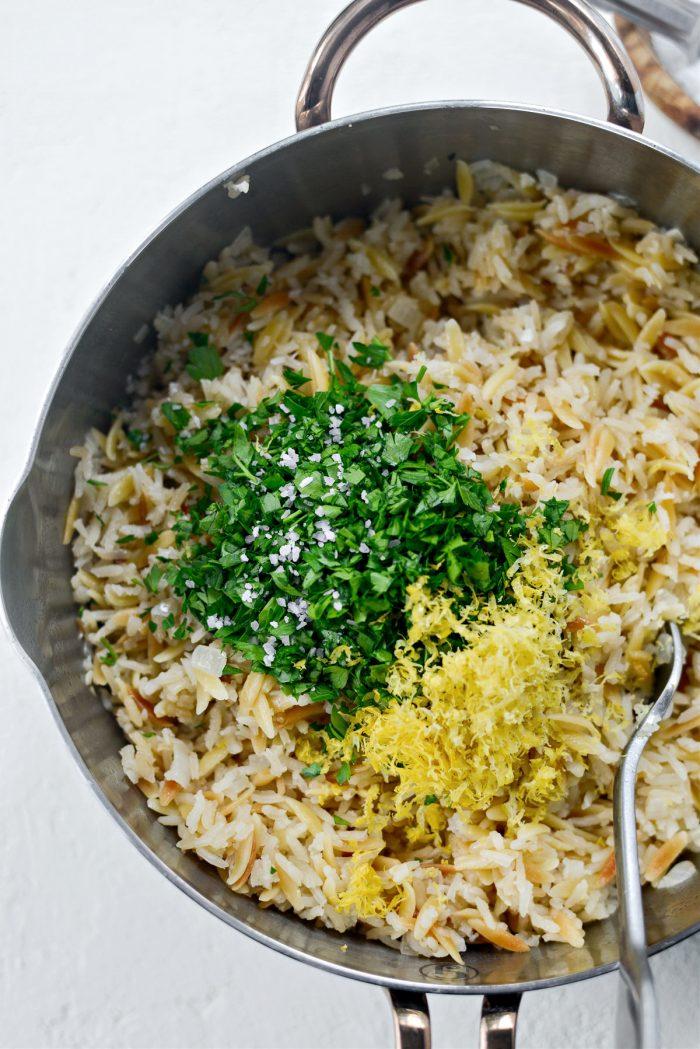 stir in parsley, lemon zest and more salt if desired