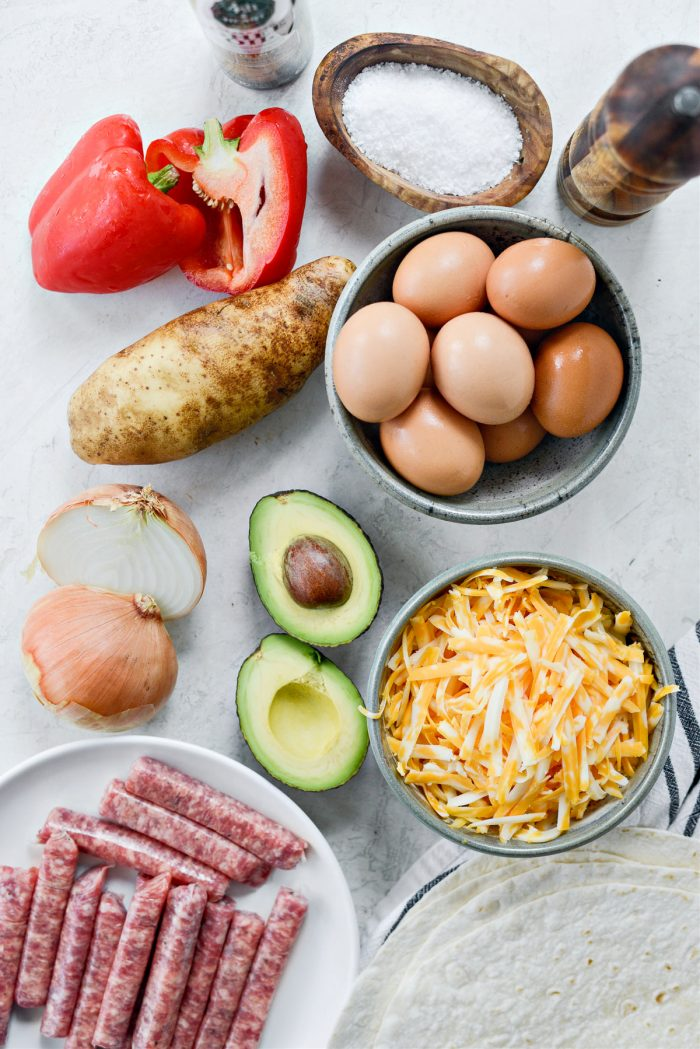 ingredients for Grilled Breakfast Burritos
