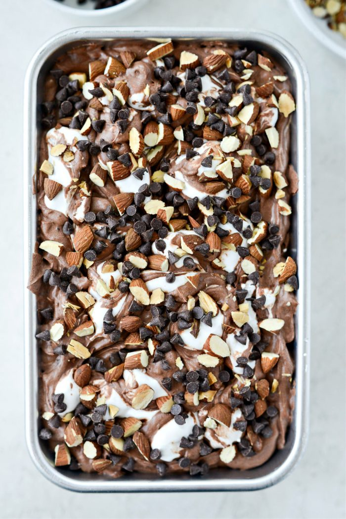 sprinkle with chocolate chips and roasted almonds
