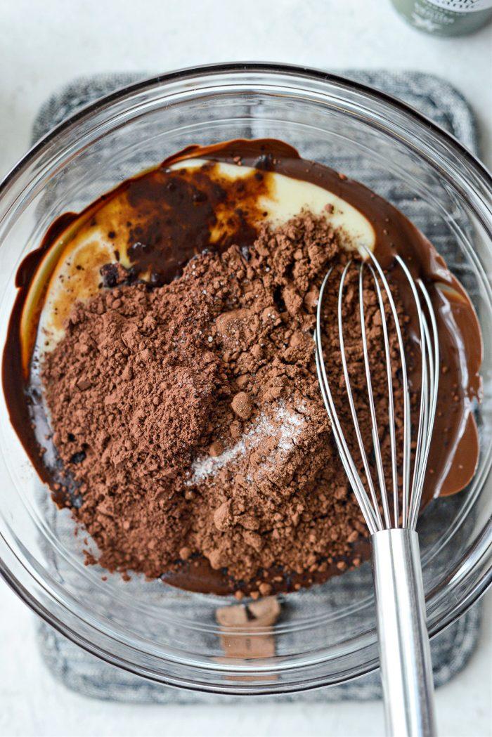 add cocoa powders, vanilla, salt