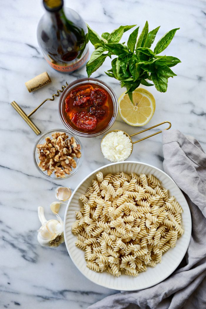 Ingredients for Sun-dried Tomato Walnut Pesto Pasta