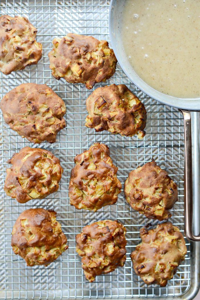 fritters on wire rack set into rimmed sheet pan.