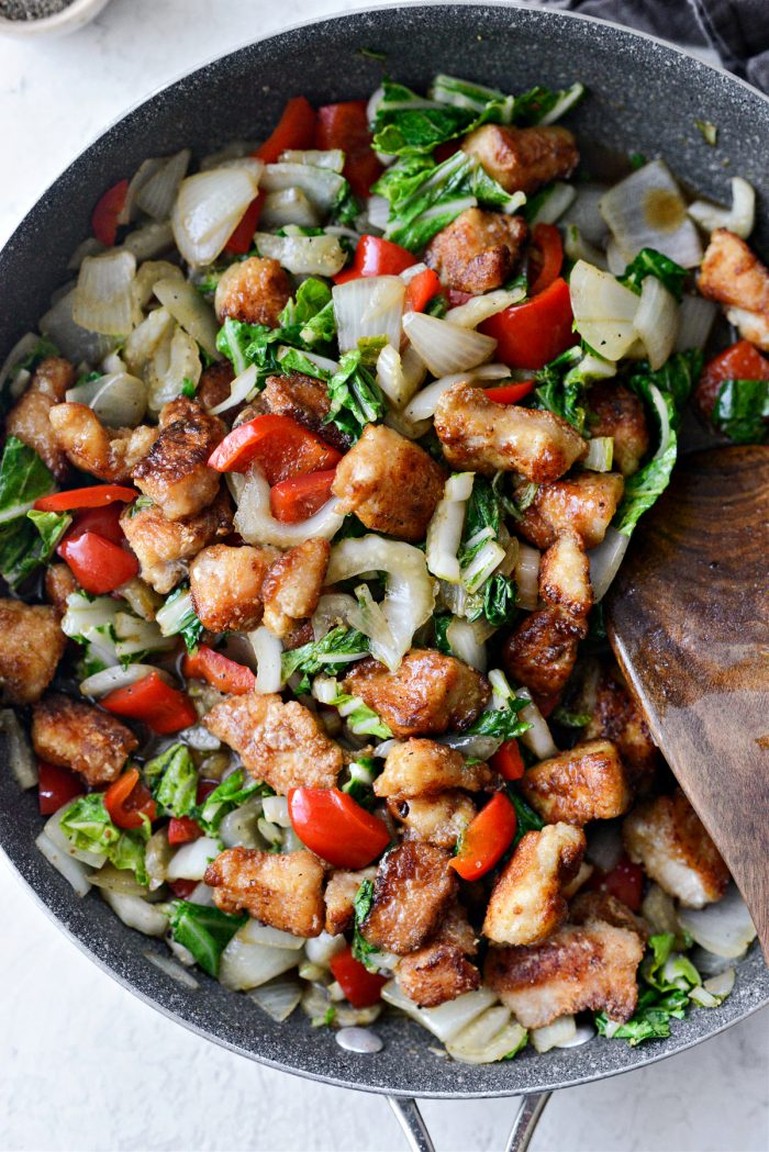tossed chicken and vegetables in skillet