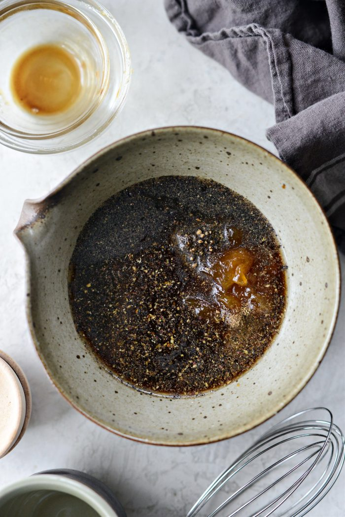 ingredients for black pepper chicken sauce in bowl