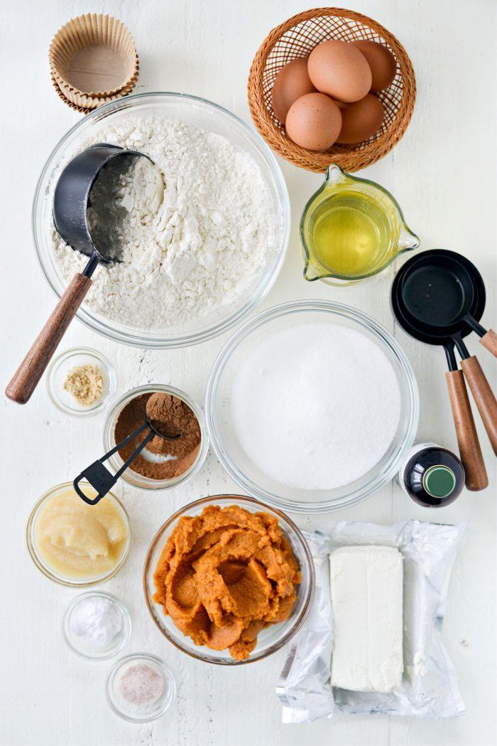 ingredients for Cheesecake Pumpkin Muffins