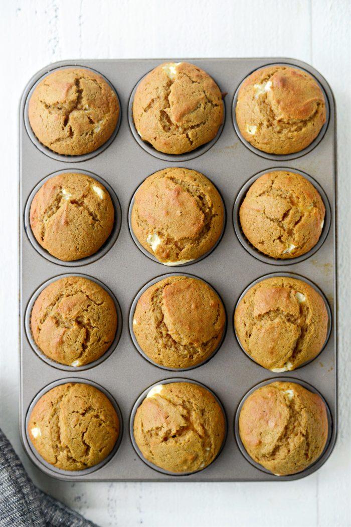 just baked Cheesecake Pumpkin Muffins