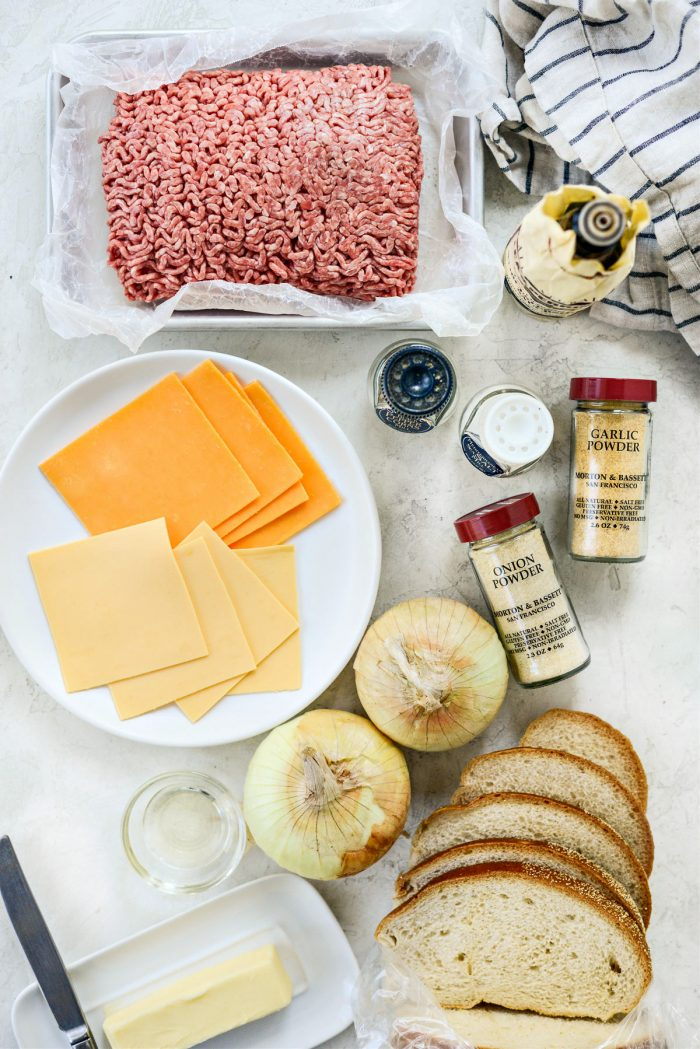 ingredients for Classic Beef Patty Melt