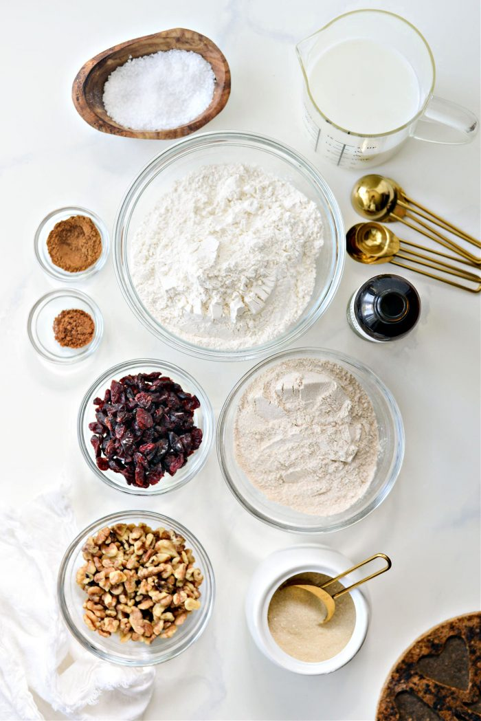 ingredients for No-Knead Cranberry Walnut Bread