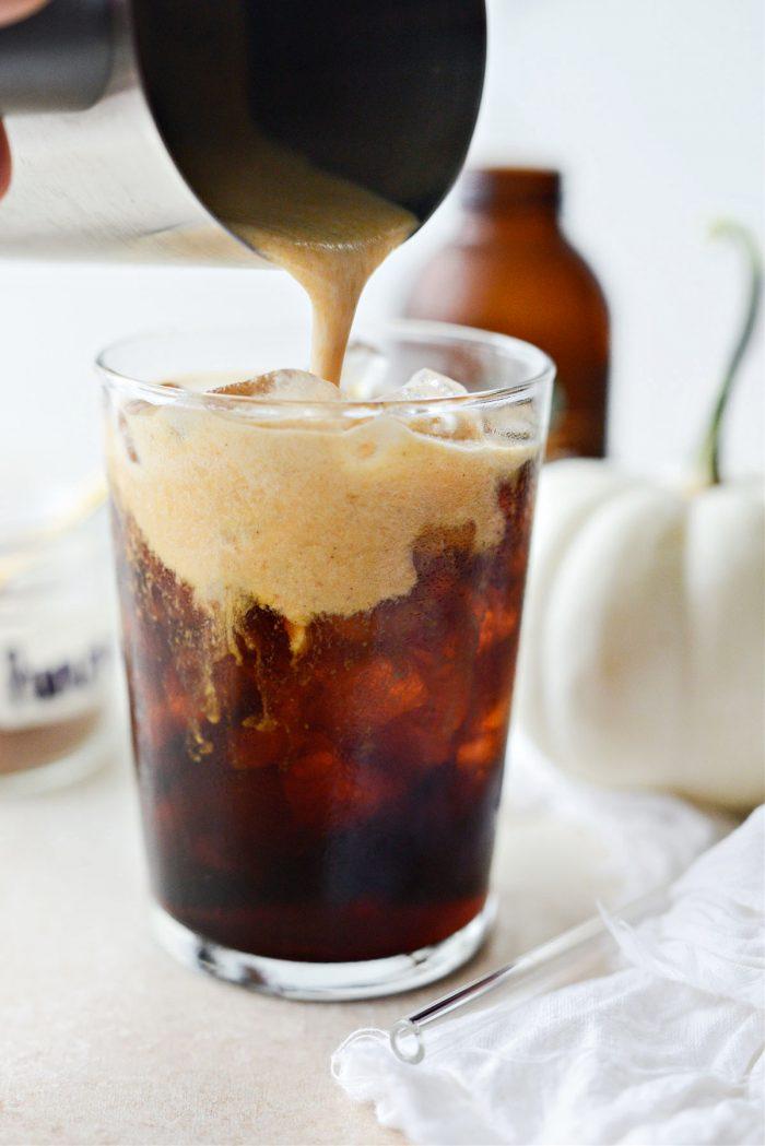 pour the pumpkin cold foam over top