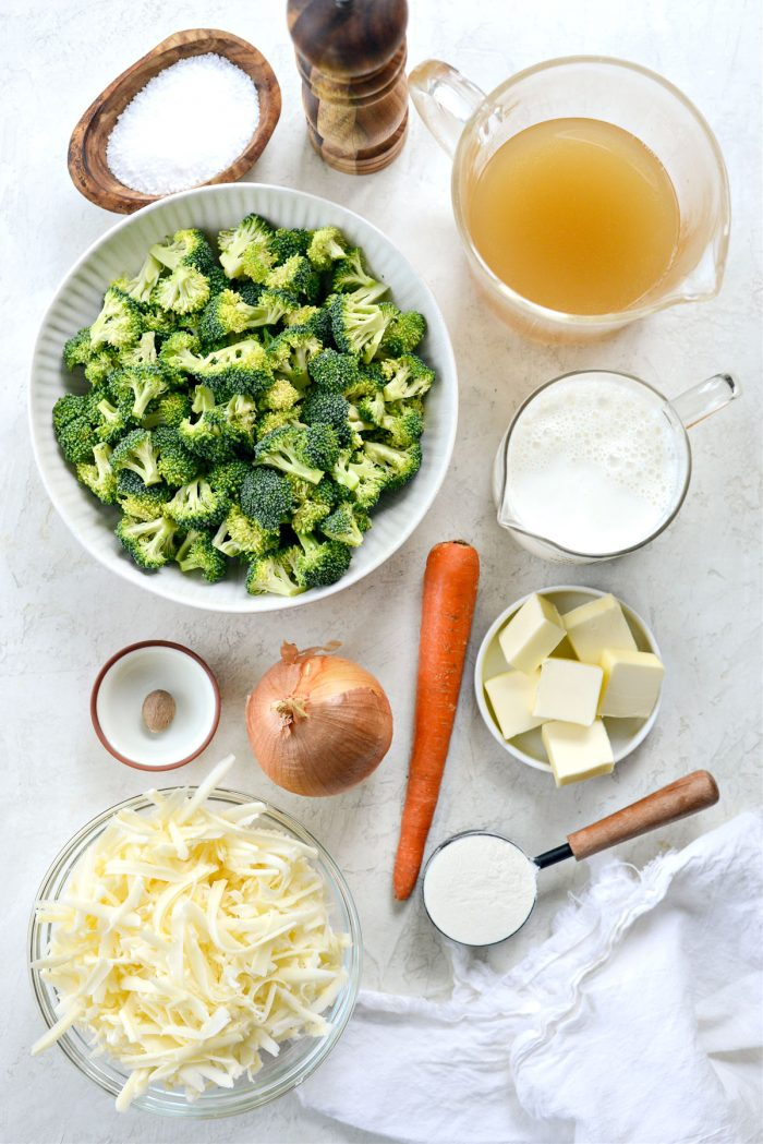 ingredients for Simple Broccoli Cheddar Soup Recipe