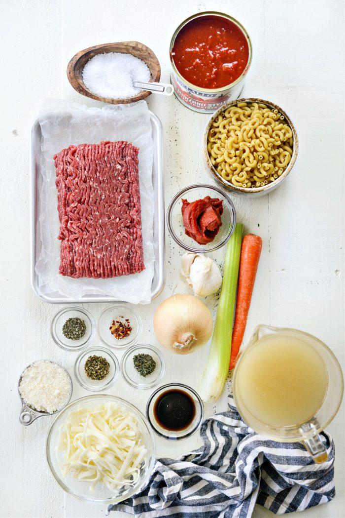 ingredients for Skillet Beefaroni