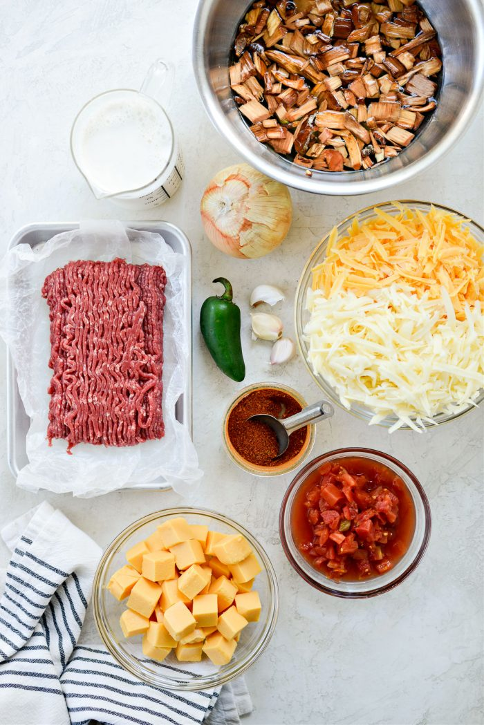 ingredients for Smoked Chile Con Queso