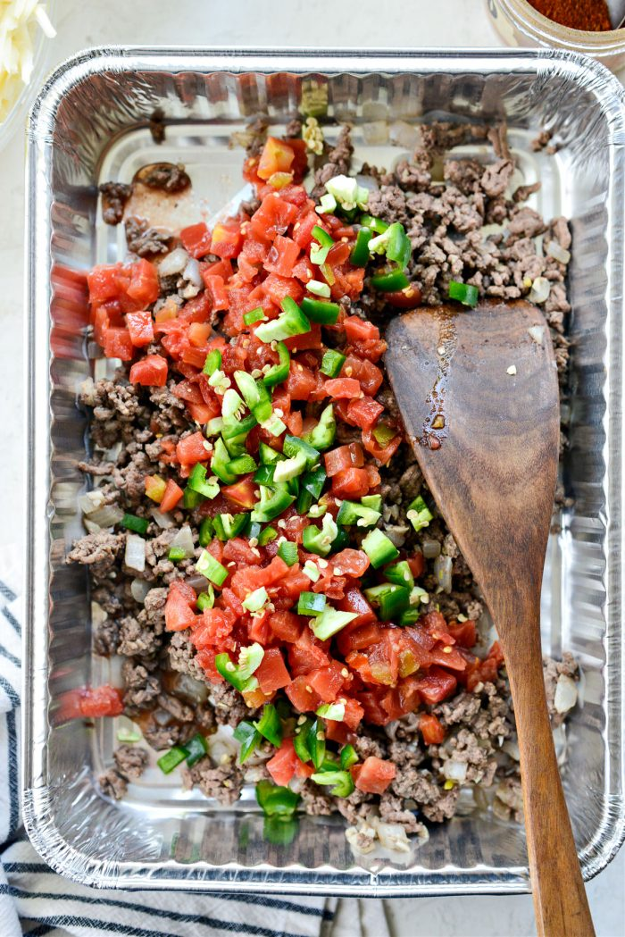 add tomatoes with green chiles and jalapeno