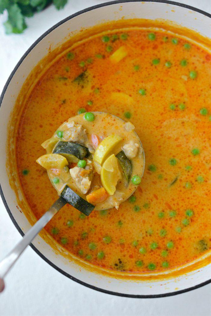 ladle Thai Coconut Curry Chicken Soup