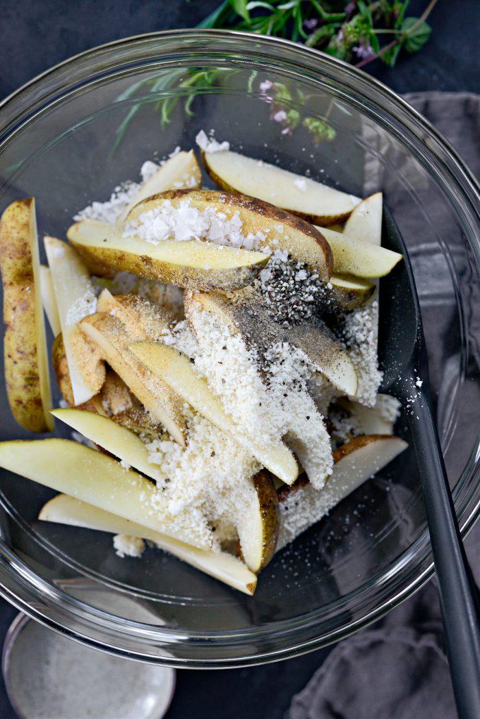 season with garlic powder, onion powder, parmesan, black pepper and salt