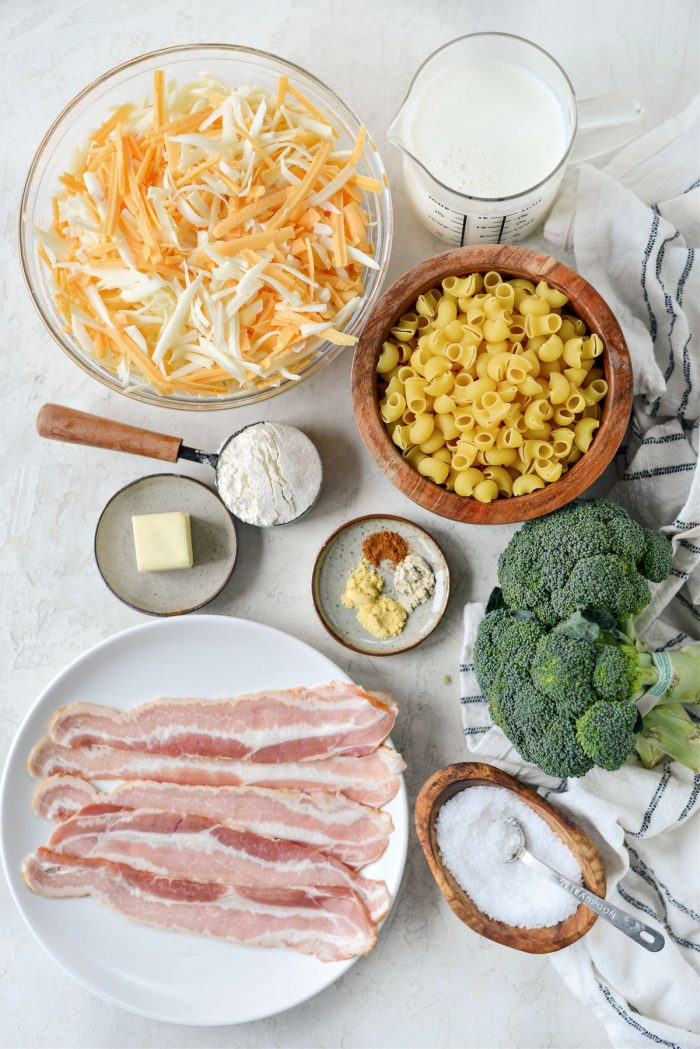 ingredients for Bacon Broccoli Mac and Cheese