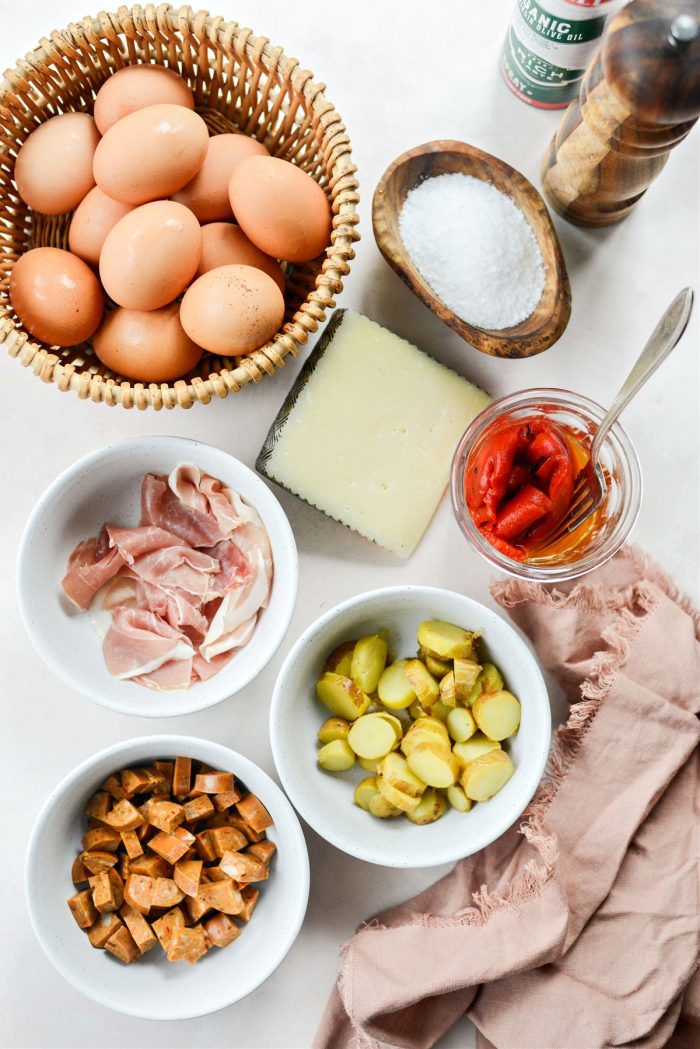ingredients for Spanish-style Mini Frittatas